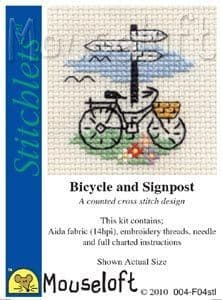 Mouseloft Bicycle and Signpost Stitchlets cross stitch kit
